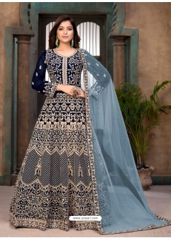 Navy Blue Heavy Designer Faux Georgette Aanarkali Suit