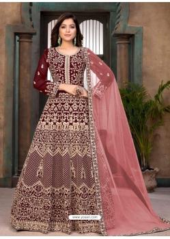 Maroon Heavy Designer Faux Georgette Aanarkali Suit