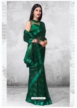 Dark Green Designer Party Wear Georgette Sari