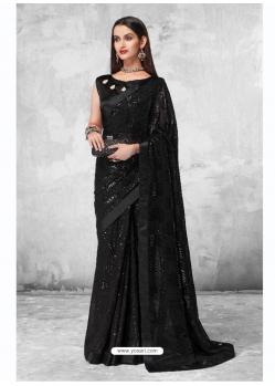 Black Designer Party Wear Georgette Sari