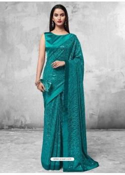 Teal Designer Party Wear Georgette Sari