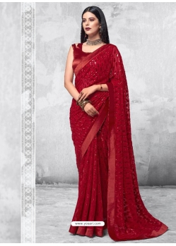 Crimson Designer Party Wear Georgette Sari