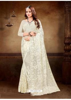 Off White Designer Party Wear Net Sari