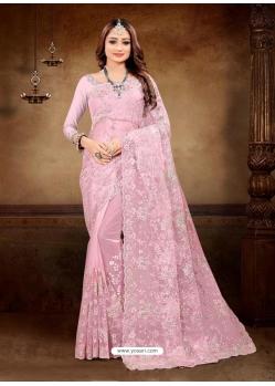 Pink Designer Party Wear Net Sari