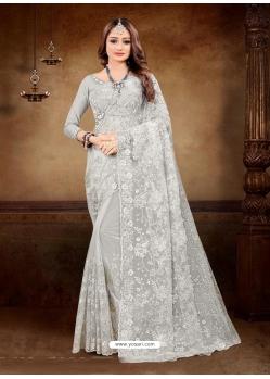 Light Grey Designer Party Wear Net Sari
