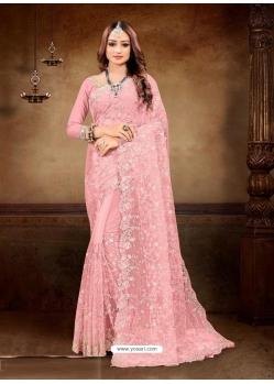 Peach Designer Party Wear Net Sari