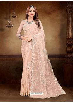 Light Orange Designer Party Wear Net Sari