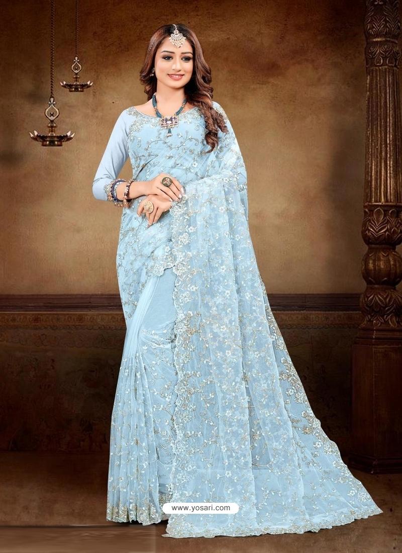Sky Blue Designer Party Wear Net Sari