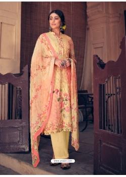 Light Yellow Designer Pure Maslin Palazzo Salwar Suit