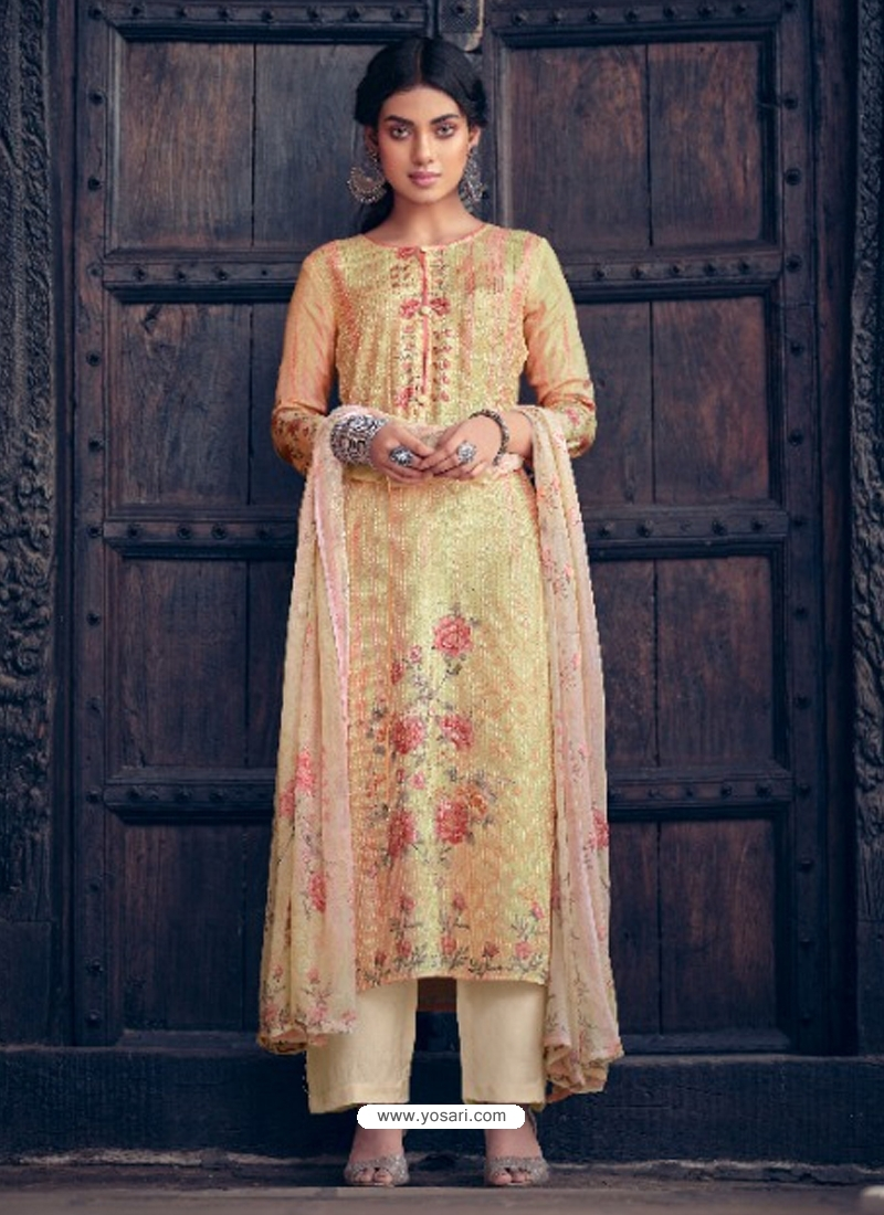 Multi Colour Designer Pure Maslin Palazzo Salwar Suit