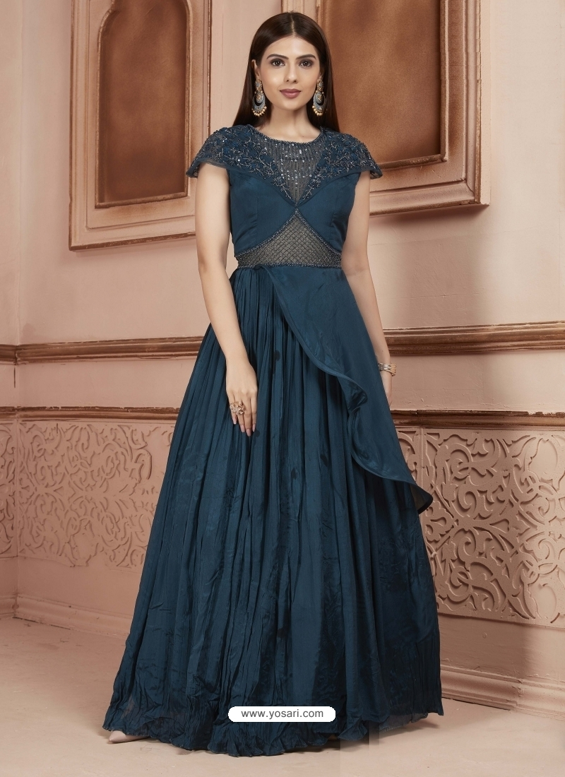 Teal Blue Readymade Designer Party Wear Dress