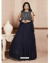 Navy Blue Readymade Designer Party Wear Dress