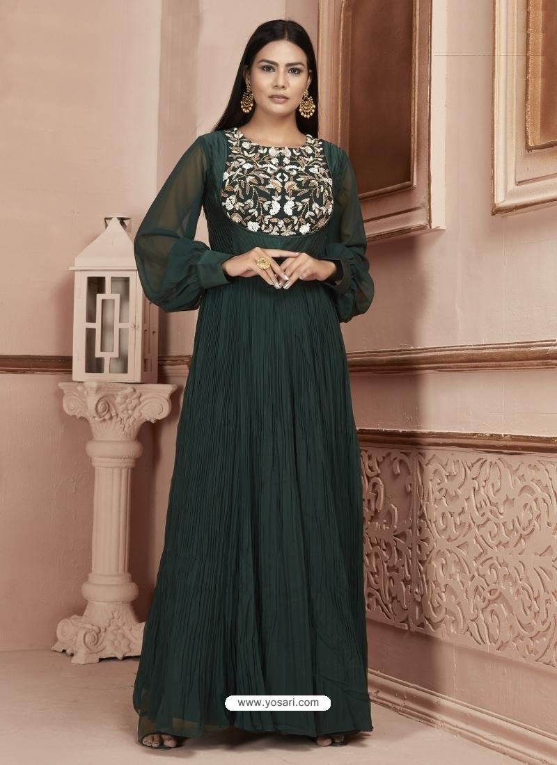 Dark Green Readymade Designer Party Wear Dress