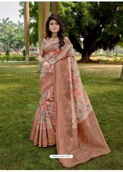 Beige Designer Party Wear Linen Sari