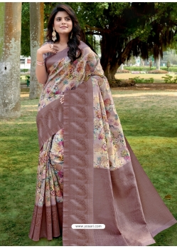Old Rose Designer Party Wear Linen Sari