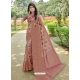 Light Brown Designer Party Wear Linen Sari