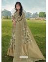 Olive Green Designer Party Wear Linen Sari