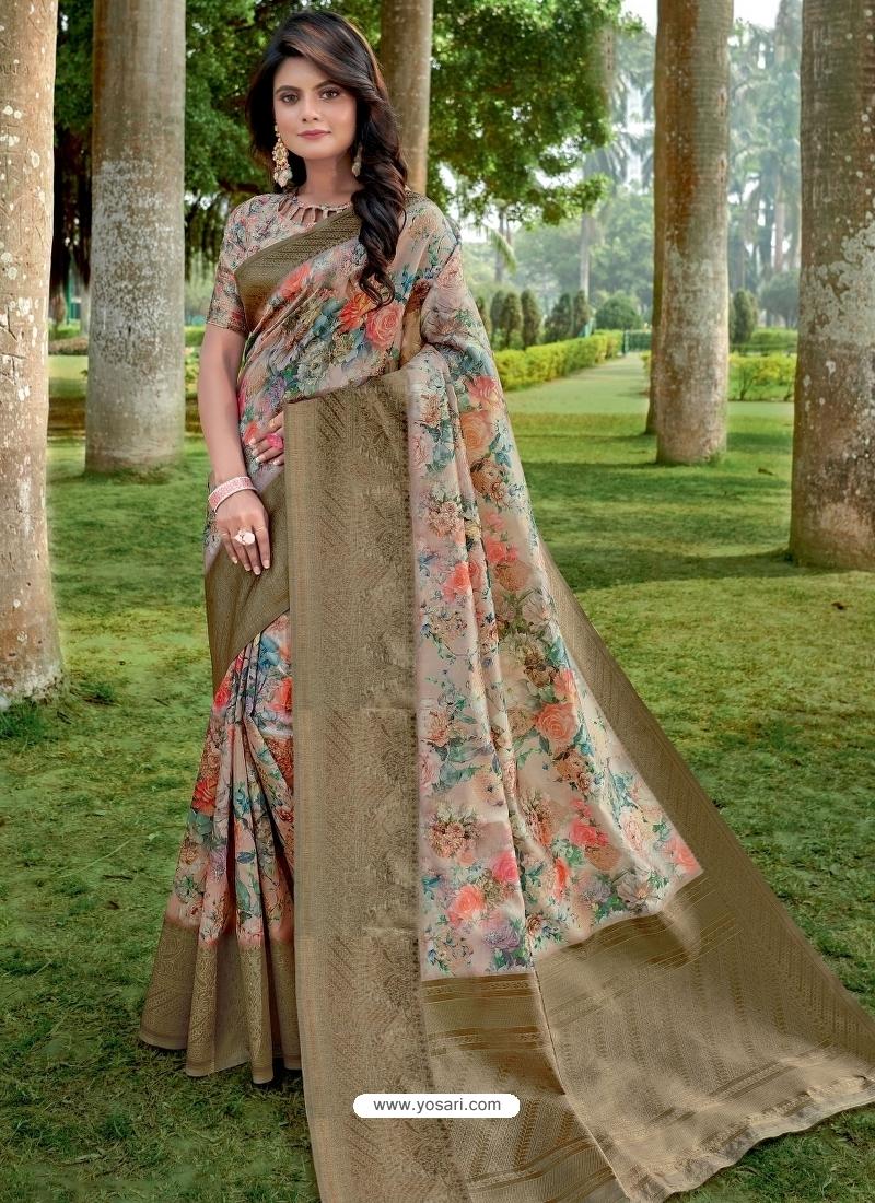 Multi Colour Designer Party Wear Linen Sari