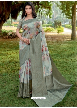 Grayish Green Designer Party Wear Linen Sari