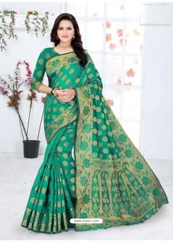 Jade Green Designer Party Wear Lichi Base Sari