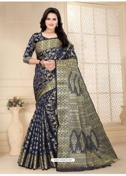 Navy Blue Designer Party Wear Lichi Base Sari