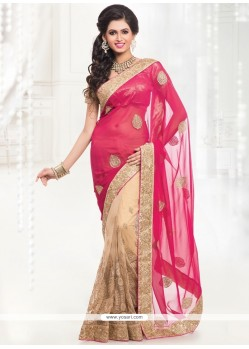 Intrinsic Faux Chiffon Cream And Hot Pink Designer Half N Half Saree