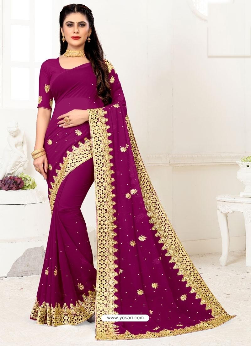 Medium Violet Designer Party Wear Georgette Sari
