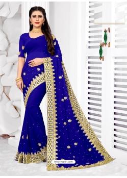Royal Blue Designer Party Wear Georgette Sari