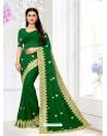 Forest Green Designer Party Wear Georgette Sari
