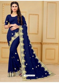 Dark Blue Designer Party Wear Georgette Sari