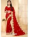Red Designer Party Wear Georgette Sari