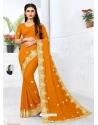 Orange Designer Party Wear Georgette Sari