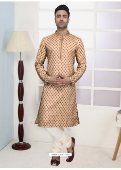 Light Beige Readymade Designer Party Wear Kurta Pajama For Men