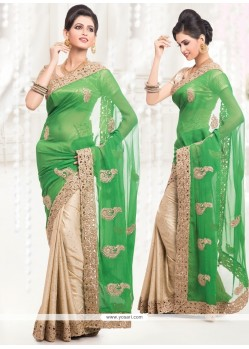 Sorcerous Beige And Green Zari Work Half N Half Saree