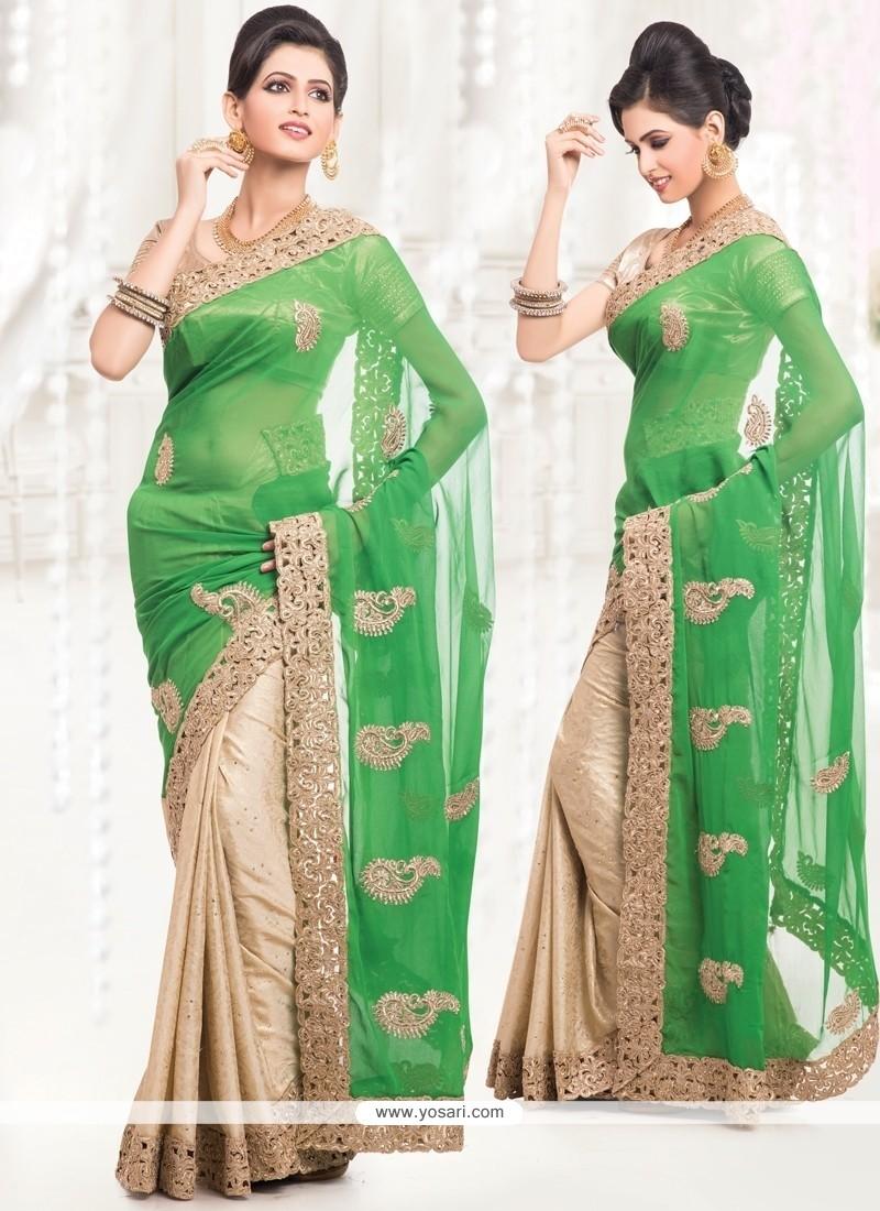 Sorcerous Beige And Green Zari Work Half N Half Saree