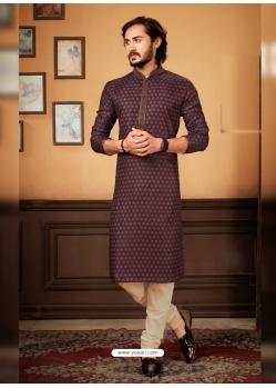 Deep Wine Readymade Designer Party Wear Kurta Pajama For Men
