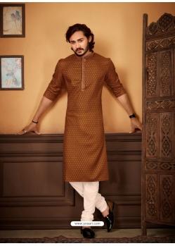 Brown Readymade Designer Party Wear Kurta Pajama For Men