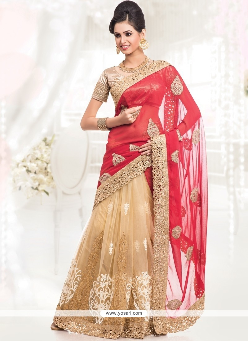 Prime Cream And Red Zari Work Designer Half N Half Saree