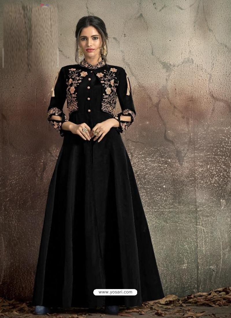 Black Readymade Designer Party Wear Dress