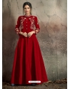 Red Readymade Designer Party Wear Dress