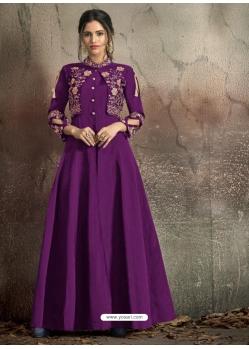 Purple Readymade Designer Party Wear Dress