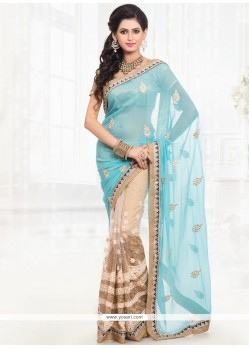 Girlish Faux Chiffon Half N Half Saree