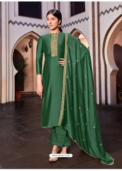 Dark Green Designer Cotton Silk Palazzo Salwar Suit
