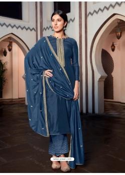 Teal Blue Designer Cotton Silk Palazzo Salwar Suit