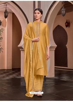 Mustard Designer Cotton Silk Palazzo Salwar Suit