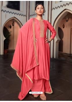 Peach Designer Cotton Silk Palazzo Salwar Suit