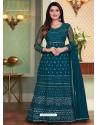 Teal Blue Designer Heavy Net Anarkali Suit