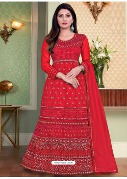 Red Designer Heavy Net Anarkali Suit