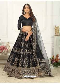 Black Scintillating Designer Heavy Wedding Lehenga Choli