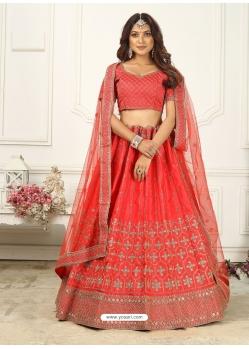 Red Scintillating Designer Heavy Wedding Lehenga Choli